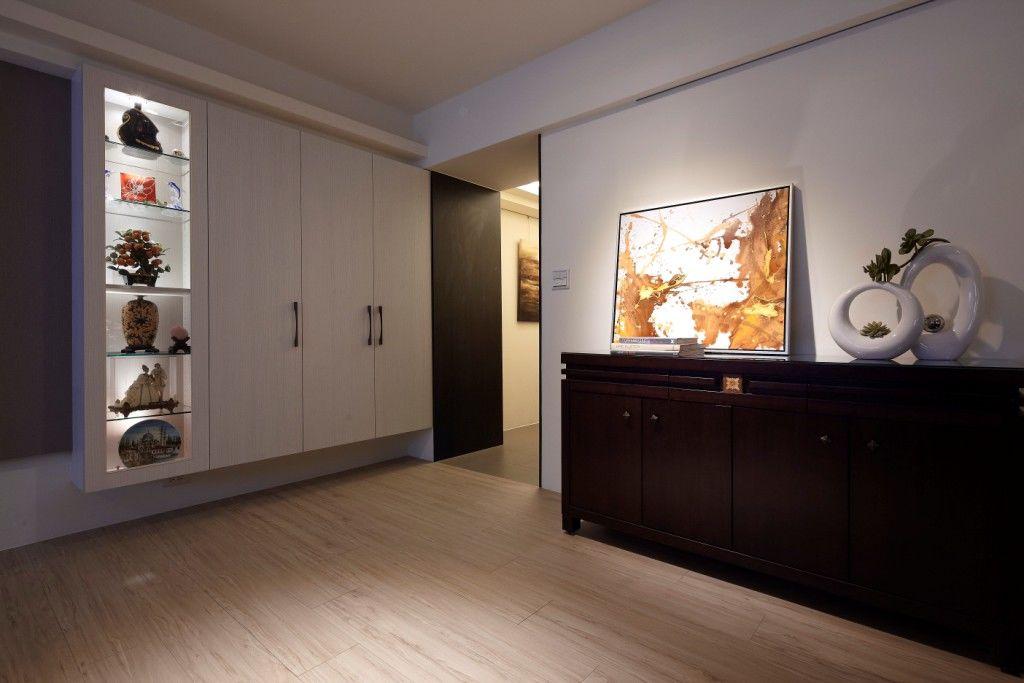 现代简中式混搭 玄关展示柜效果图
