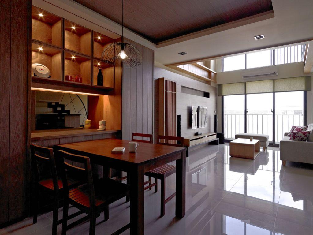 实木日式餐厅整体柜设计