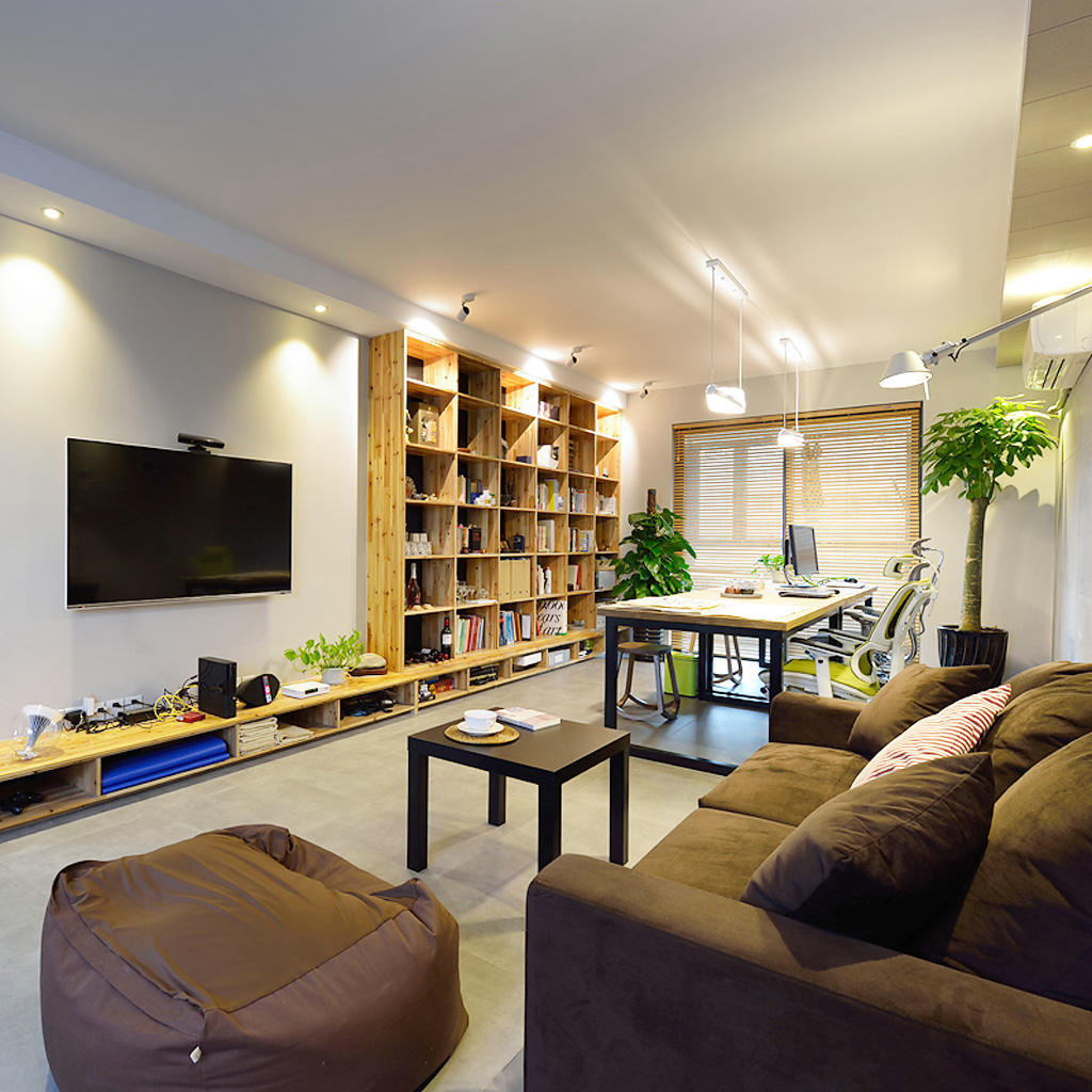 简约混搭客厅书房一体设计