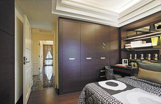 现代简约风卧室 咖色系衣柜设计