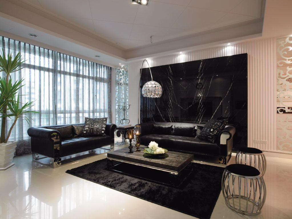 黑白时尚现代客厅背景墙设计
