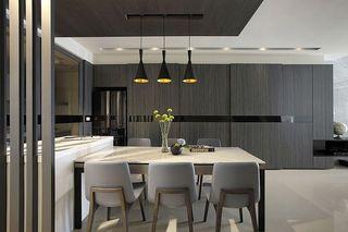现代家居餐厅黒木背景墙装饰