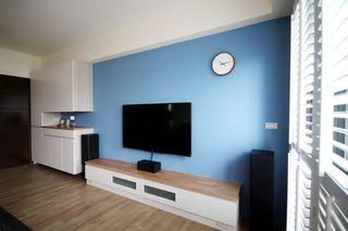 蓝色唯美地中海风格电视背景墙装潢案例图