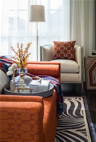 时尚现代风 亮橙色沙发效果图
