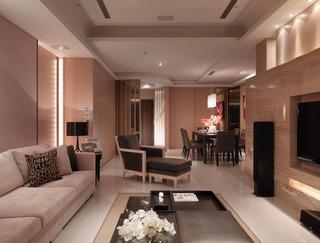 中性暖色美式三居室效果图