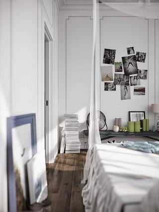 怀旧北欧风卧室照片墙设计