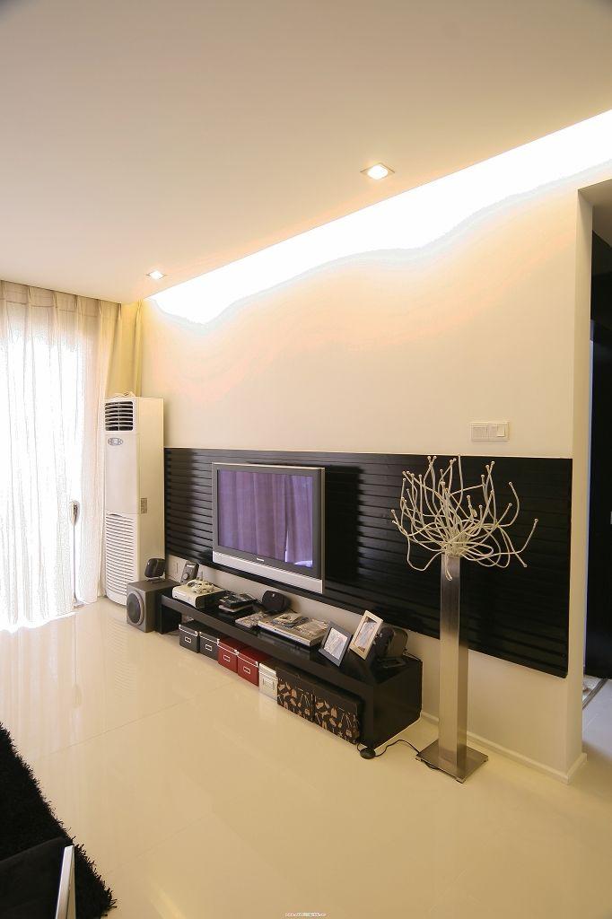黑白简约现代 电视背景墙效果图