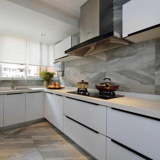 高雅时尚现代大理石厨房白色窗帘装饰效果图