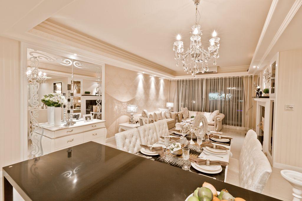 新古典主义风格餐厅水晶吊灯装饰效果图
