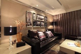 中性暖色现代风 三居室效果图