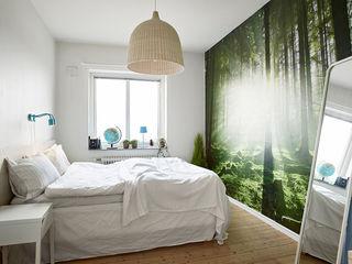 北欧卧室丛林背景墙装饰