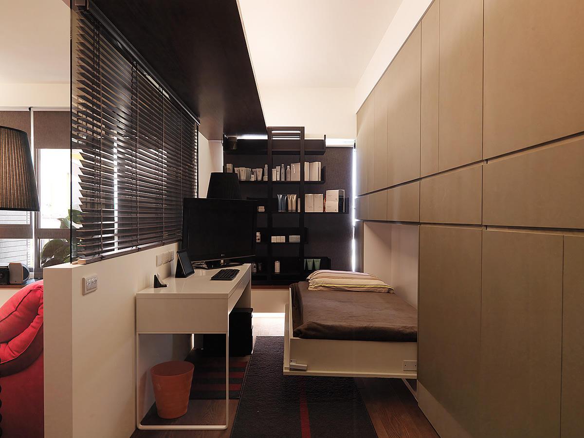 现代二居卧室书房一体设计