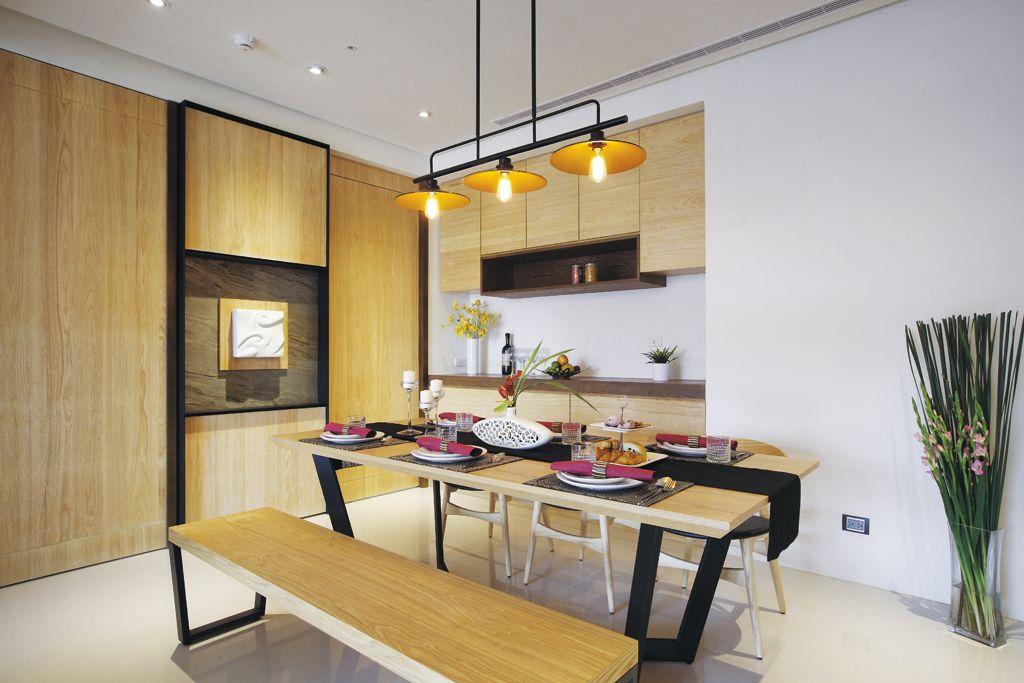 温馨原木复古宜家风餐厅室内设计效果图