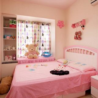 甜美粉色简约儿童房装饰