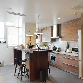 自然工业风混搭 原木厨房装修