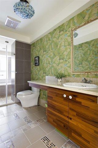清新田园风格家居卫生间防水墙纸装饰效果图