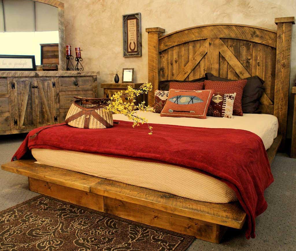 复古欧式混搭 原木床设计