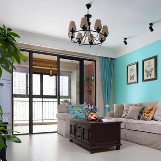 复古美式客厅 推拉门隔断设计