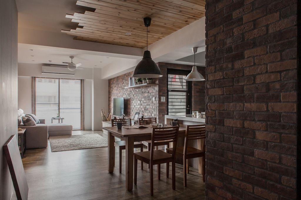 古朴美式装修餐厅吊顶设计