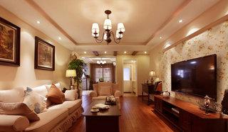 中性暖色美式田园风 三室两厅设计