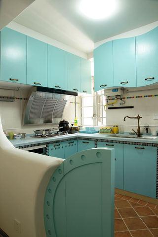 清新甜美地中海厨房 蓝色橱柜设计
