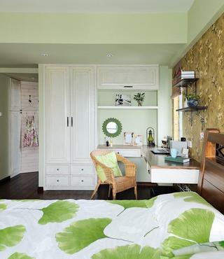 清爽田园风格卧室书架衣柜组合设计