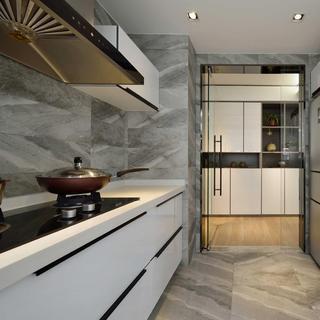 时尚现代设计装修大理石厨房玻璃门装饰效果图