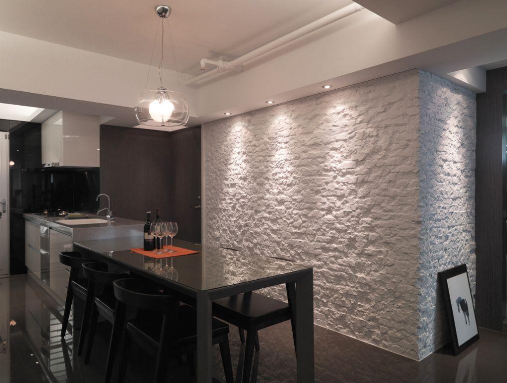 现代小户型餐厅石膏背景墙设计装潢效果图