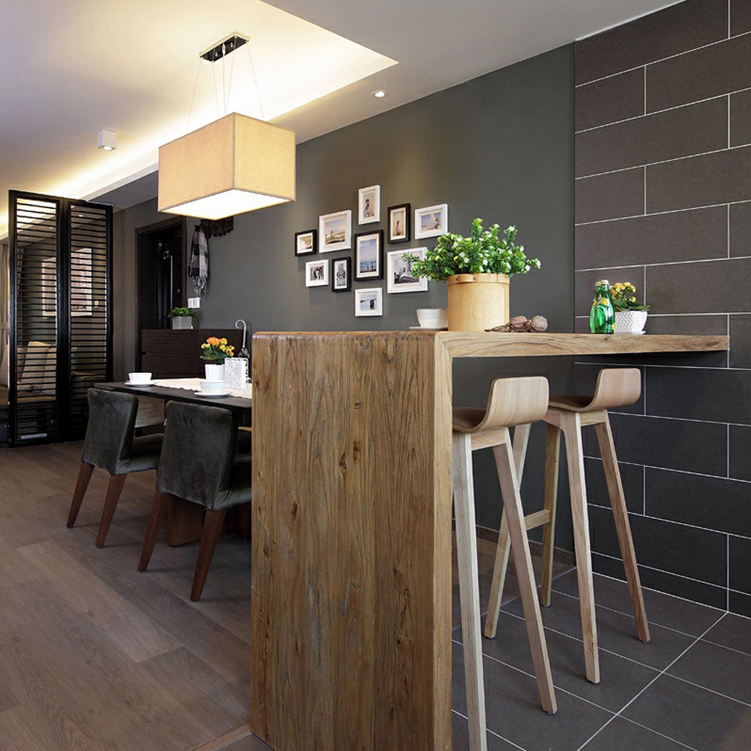 时尚新中式餐厅 实木吧台效果图