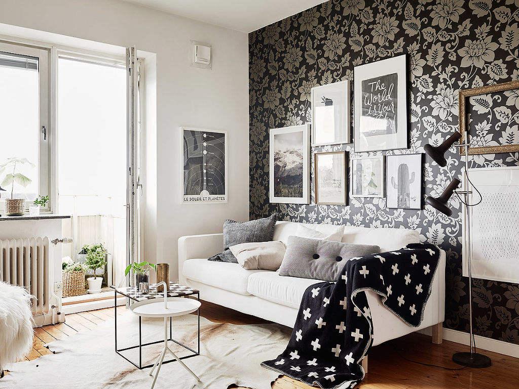 时尚北欧小户型客厅墙纸装饰图