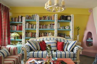 亮色地中海 客厅背景墙书柜设计