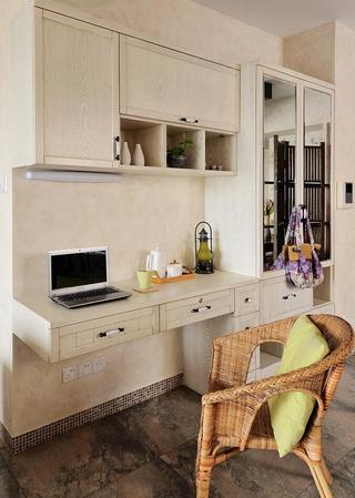 田园风格家居书房墙面书桌柜设计
