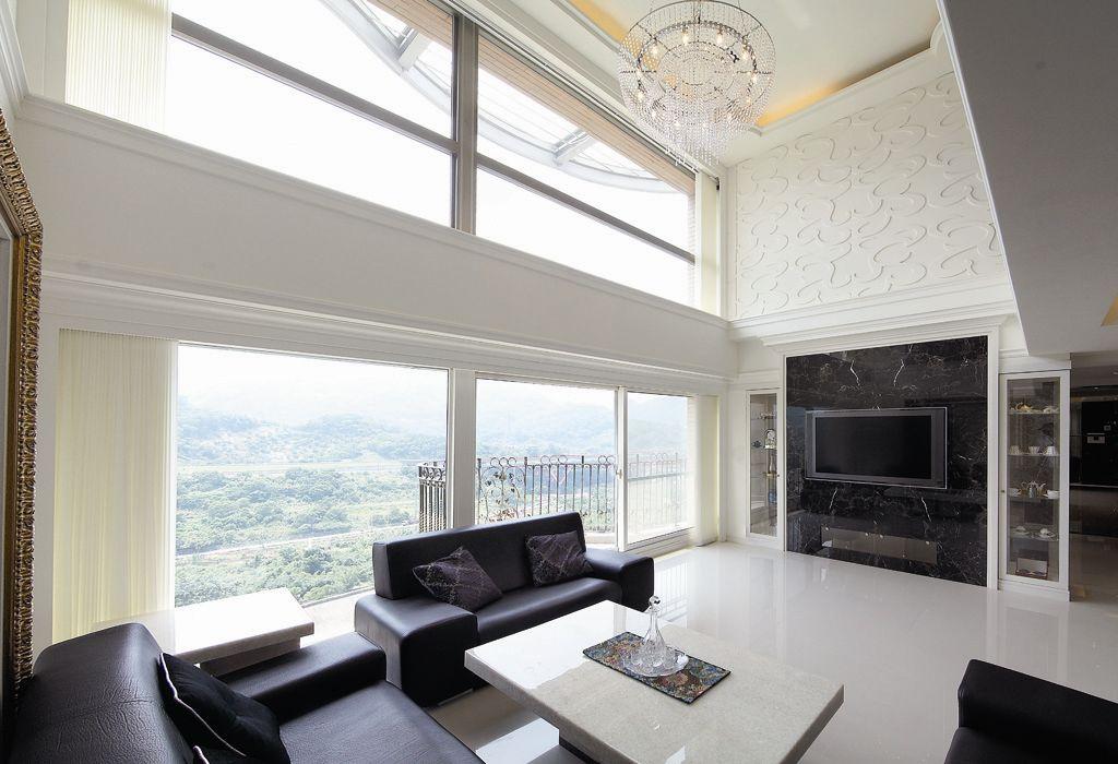 黑白简欧别墅 客厅窗户效果图