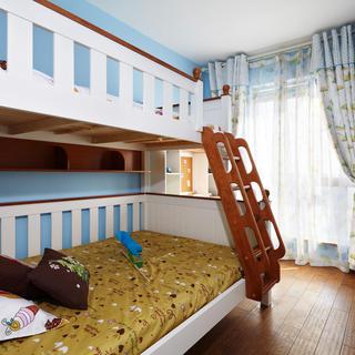 清新地中海儿童房双人床设计