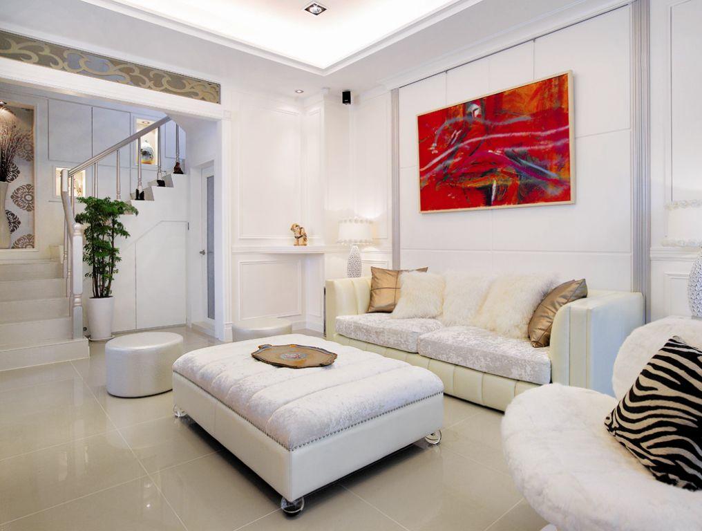 清新简欧复式 客厅沙发效果图
