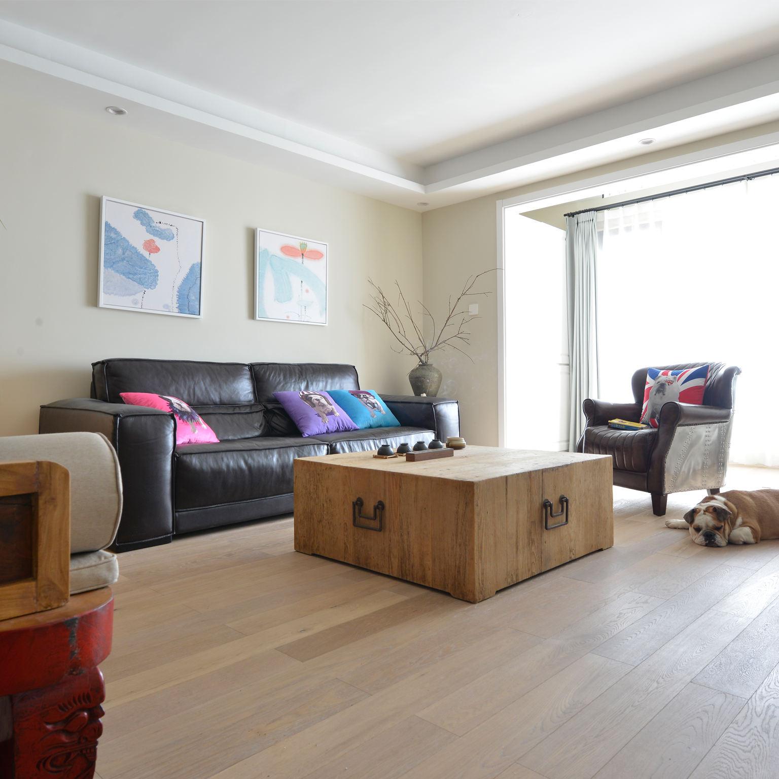 现代简中式混搭 客厅沙发效果图