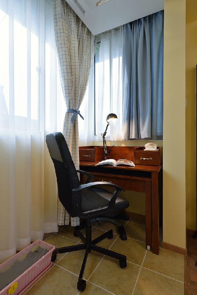 浪漫简美式书房窗帘效果图