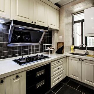 黑白时尚北欧厨房装潢效果图