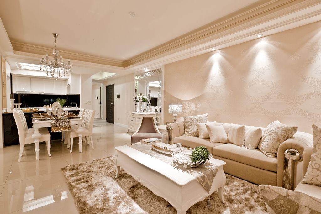 米白色新古典主义风格家居室内装修效果图