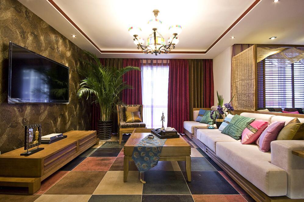 东南亚风格客厅软装装饰效果图