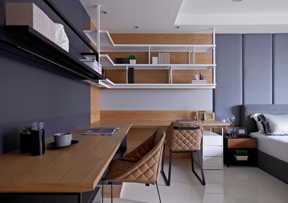 简约时尚现代设计卧室书桌书架装饰图