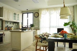 清新美式田园餐厨房吧台半隔断效果图