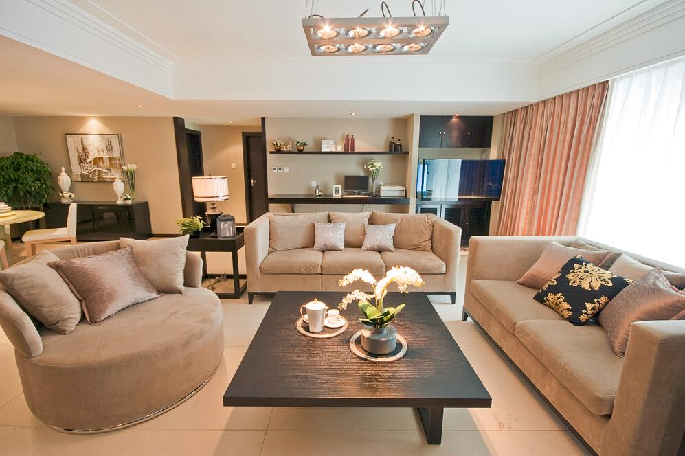 清新简约时尚客厅沙发摆放效果图
