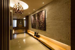 金棕色现代混搭 玄关背景墙设计
