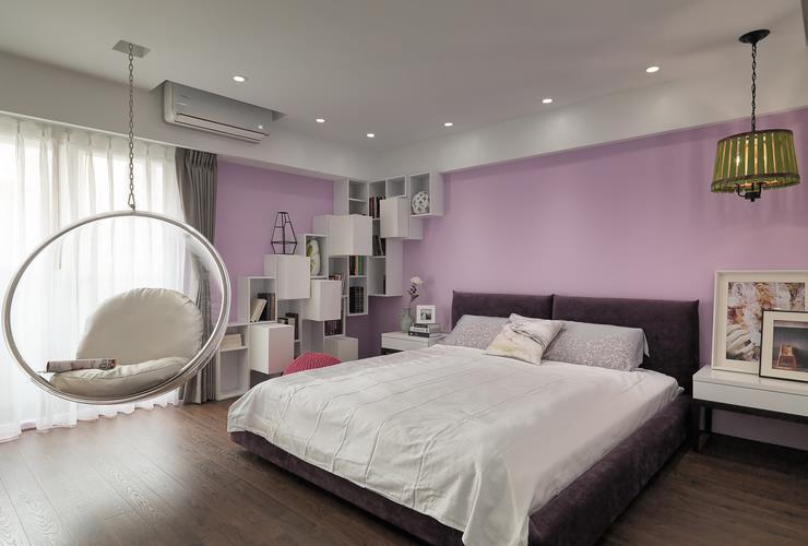 浪漫紫色现代风卧室效果图