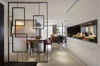 宜家新中式 玄关玻璃隔断设计