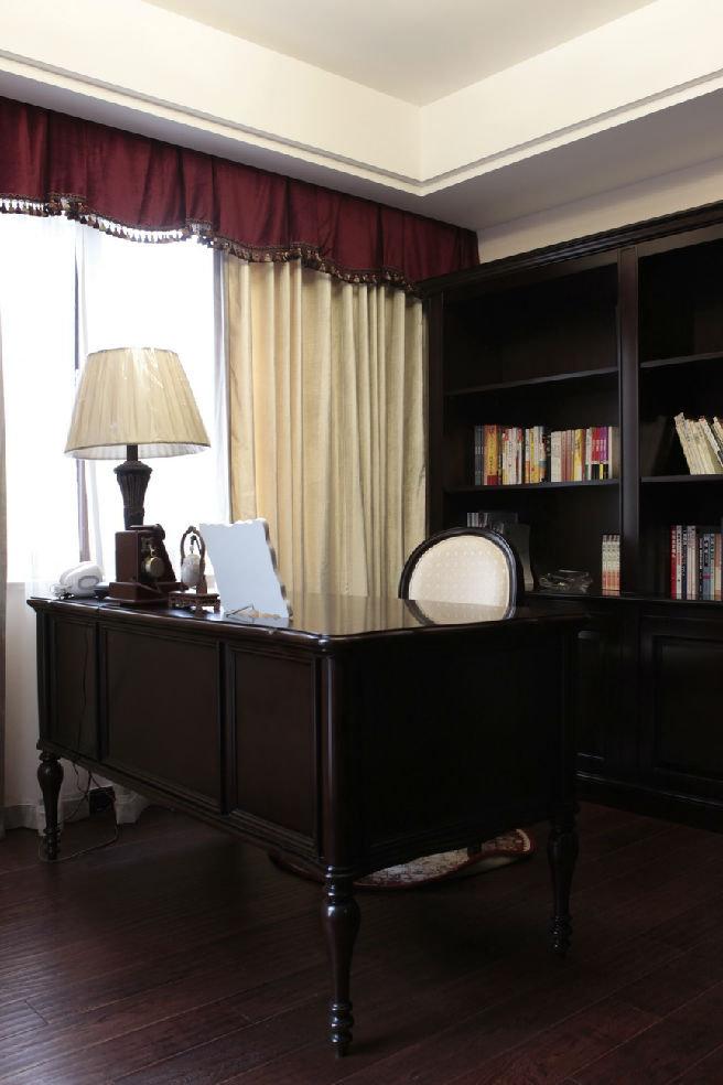 美式新古典书房 实木书桌效果图
