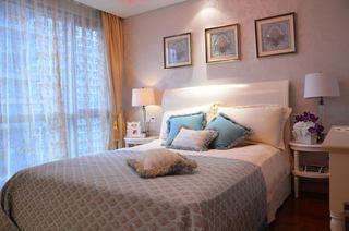 浪漫粉色简约美式卧室背景墙效果图