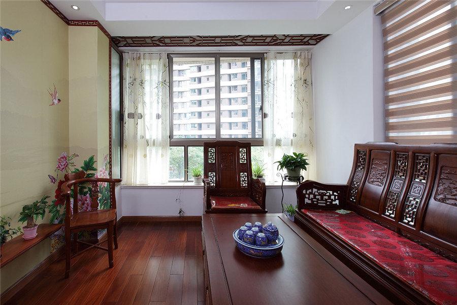 仿古中式风格三居室设计装修欣赏图片