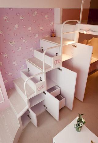 粉色kitty主题 宜家跃层楼梯效果图